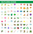100 flora icons set cartoon style