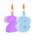 28 years birthday number with festive candle for vector image vector image