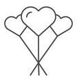 balloons like heart thin line icon love balloons vector image