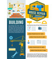building construction work tools poster vector image vector image