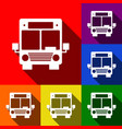 bus sign set of icons with vector image