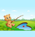 cartoon bear fishing in a heart-shaped vector image vector image
