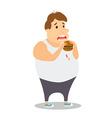 Cartoon Fat Man eating Burger vector image