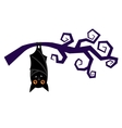Cartoon halloween bat hanging on tree branch vector image vector image