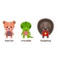 Cartoon isolated wood animals in cloth vector image