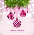 Christmas Invitation with Fir Twigs and Glass vector image vector image
