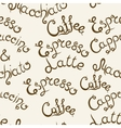 Coffee seamless pattern Lettering vector image vector image