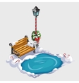 Composition with street lamp bench and ice hole vector image