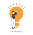 creative idea concept with light bulb creative vector image