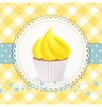cupcake with yellow icing on yellow gingham vector image vector image