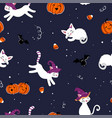 cute hand drawn halloween seamless pattern vector image vector image