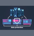 data protection computing center with hosting vector image vector image