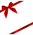 design product red ribbon and bow 3d realistic vector image vector image