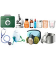 different medical equipments on white background vector image vector image