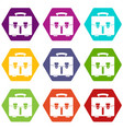 diplomat bag icon set color hexahedron vector image vector image