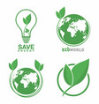 ecology logo set eco world green leaf energy vector image