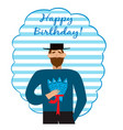greeting card with bearded man with fishes vector image vector image