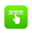 hand cursor and website icon digital green vector image