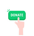 hand push on donate green button vector image