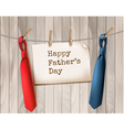 Happy Fathers Day Background With A Two Ties On vector image vector image