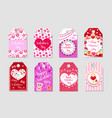 happy valentine s day tags set labels collection vector image vector image