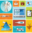 Health And Medical Flat Icon Set vector image