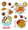 Healthy lunch icon with main dishes and desserts vector image vector image
