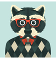 Hipster raccoon vector image