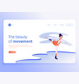 Landing page template young graceful woman doing