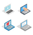 laptop icon set isometric style vector image vector image