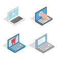 laptop icon set isometric style vector image