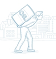 Man carrying an oil barrel on his back vector image