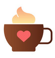 mug of coffee with heart flat icon coffee with vector image vector image