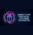 neon gift with ribbon glowing sign in circle vector image