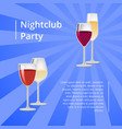 nightclub party poster with pair glasses vector image vector image