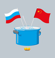Political kitchen Russia and China community Cook vector image