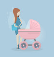 pregnant woman with a stroller vector image vector image