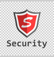 red shield logo in flat style with word security vector image vector image