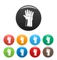rubber gloves icons set color vector image