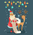 santa reading a long christmas wish list with deer vector image