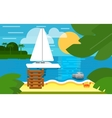 Seascape with Sailing Yacht Summer Banner vector image