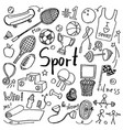 set of hand drawn doodle sport icons vector image