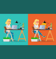stressed out woman blonde girl working at vector image