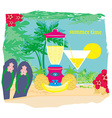 summer background with palm trees and fruity drink vector image