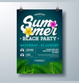 summer beach party flyer design with flower vector image vector image