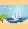 summer sea picture origami made paper relax on vector image vector image