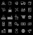 Supply chain line icons on black background vector image vector image