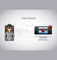 theft identity hacker mobile computer virus vector image vector image