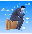Thinking outside of the box business concept vector image vector image