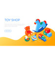toys shop - modern colorful isometric web banner vector image